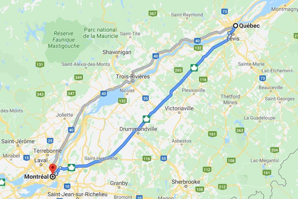 Où se situe Montréal par rapport à Québec