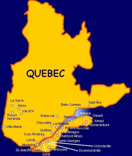 carte principales villes du Québec